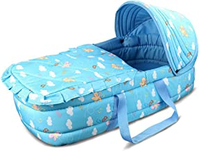 Blue Olpchee Portable Folding Baby Carrycot Baby Travel Bed Crib Infant Transporter Basket with Double Handle for 0-6 Months Babies