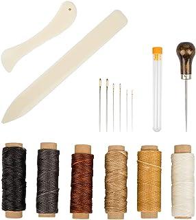 Set of 16 Bookbinding Tools, SourceTon Bone Folder Creaser Waxed Linen Thread Wood Handle Awl Large-Eye Needles for Handma...