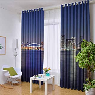 hengshu Blue 99% Blackout Curtains Canada Toronto Sunset Over The Lake Panorama Urban City Skyline with Night Lights for Bedroom Kindergarten Living Room W96 x L84 Inch Blue Pink Peach