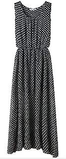 Women's Polka Dots Maxi Dress Long Casual Summer Beach Chiffon Party Dresses