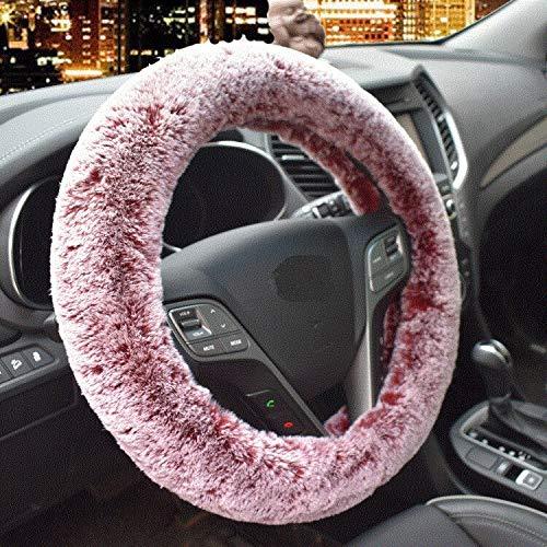 NO-LOGO SHIYM-fang, Winter Super Soft-Plüsch-Auto-Lenkrad-Abdeckung Universal, Warm-Pelz-Auto Lenker auf dem Lenkrad Braid Schönes (Color Name : Rot)