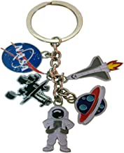 NASA 5 Charm Keychain- Featuring Rocketship, Astronaut, Mars Rover and Planets Charms