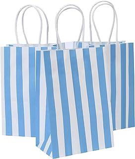 Road 14x8.5x20.5 CM 50pcs Blue Stripes Kraft Paper Bags, Small Shopping Bag, Retail bag, Craft Paper Bag, Gift Bag