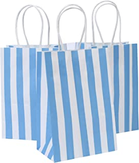 Road 5.25x3.25x8 Inches 25pcs Blue Stripes Kraft Paper Bags, Shopping Bag, Gift Bag