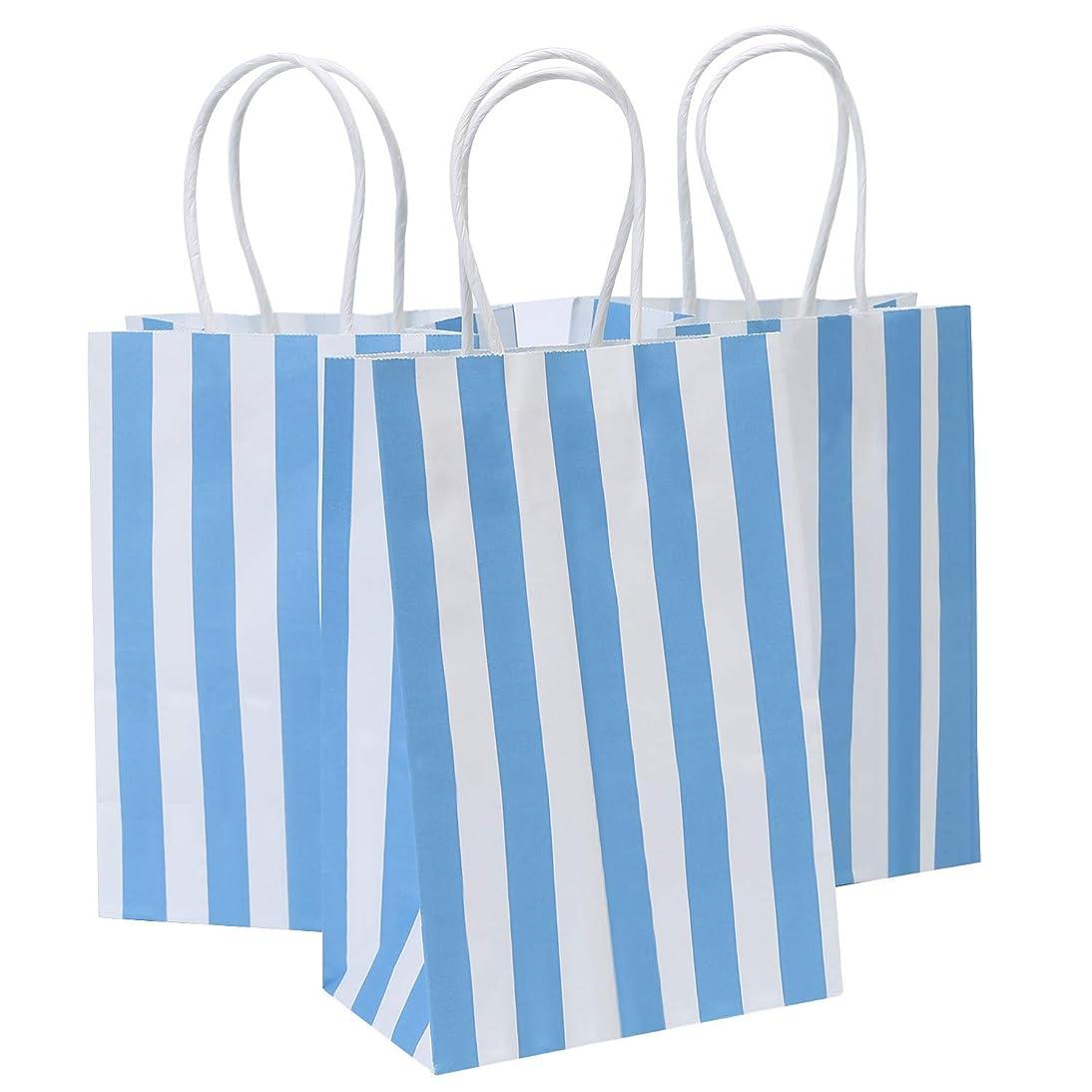 Road 5.25x3.25x8 Inches 50pcs Blue Stripes Kraft Paper Bags, Small Shopping Bag, Retail bag, Craft Paper Bag, Gift Bag