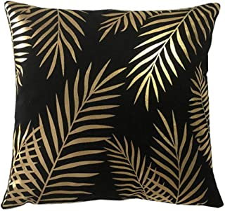 ZHENGDANG Black Gold Leaf Cushion Decorative Pillow Home Decoration Throw Pillow