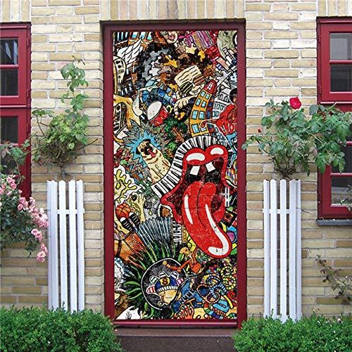 DFKJ Etiqueta engomada Visual de la Puerta 3D Papel Tapiz de decoración del hogar Impermeable Autoadhesivo Cartel decoración calcomanía Cabina telefónica Mural A22 86x200cm
