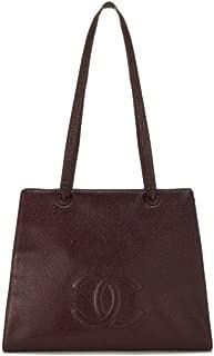 CHANEL Burgundy Caviar Shoulder Bag (Pre-Owned)