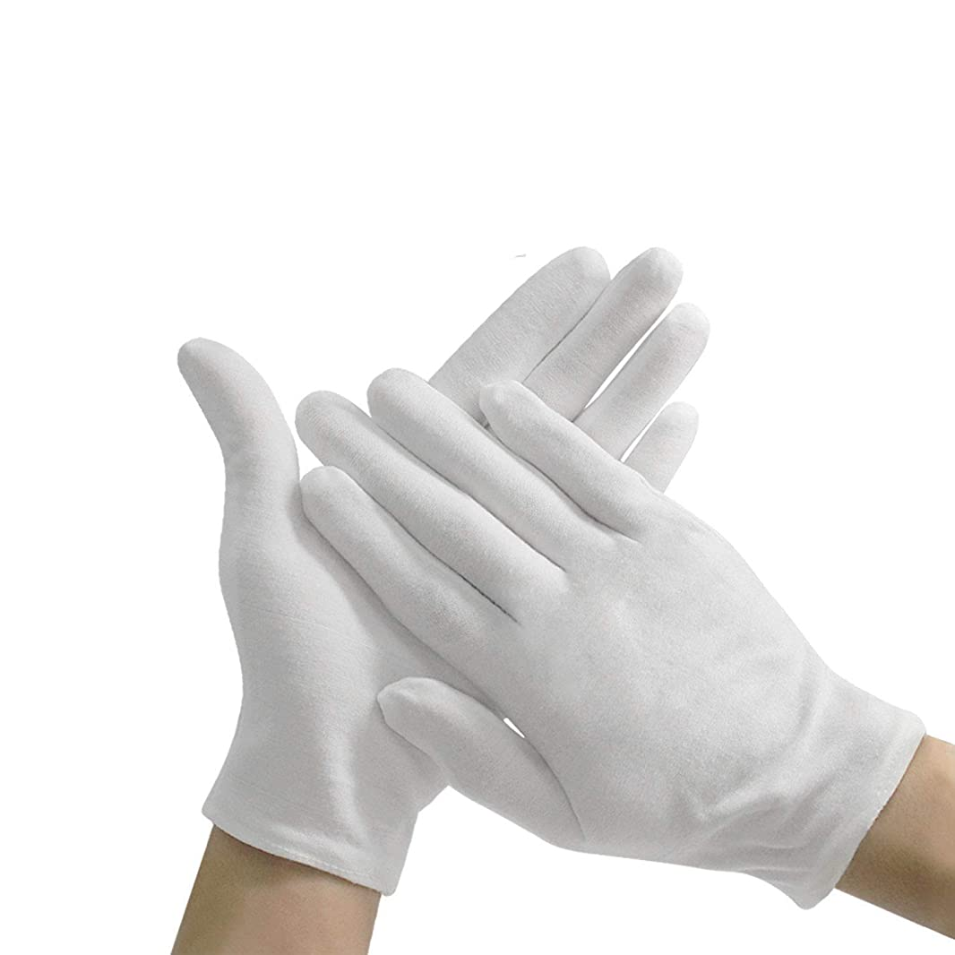 一掃するいつも駅コットン手袋 純綿100%耐久性が強い上に軽く高品質伸縮性通気性抜群 白 12双組
