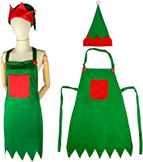 ocharzy 10 pcs Christmas Green Elf Apron Gift Adjustable Server Apron with Pockets and Hat from