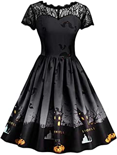 Ladies Halloween Dress, Teen Girls Womens Pumpkin Patchwork Printed Vintage Gown Party Swing Dress