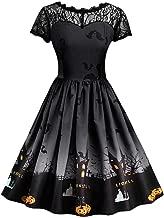 DEATU Ladies Halloween Dress, Teen Girls Womens Pumpkin Patchwork Printed Vintage Gown Party Swing Dress