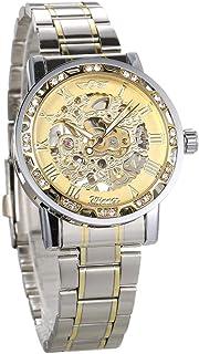 Men Automatic Watch Fashion Diamond Display Luminous Hands Gear Movement Retro Mechanical Skeleton Watches Luxury Casual B...