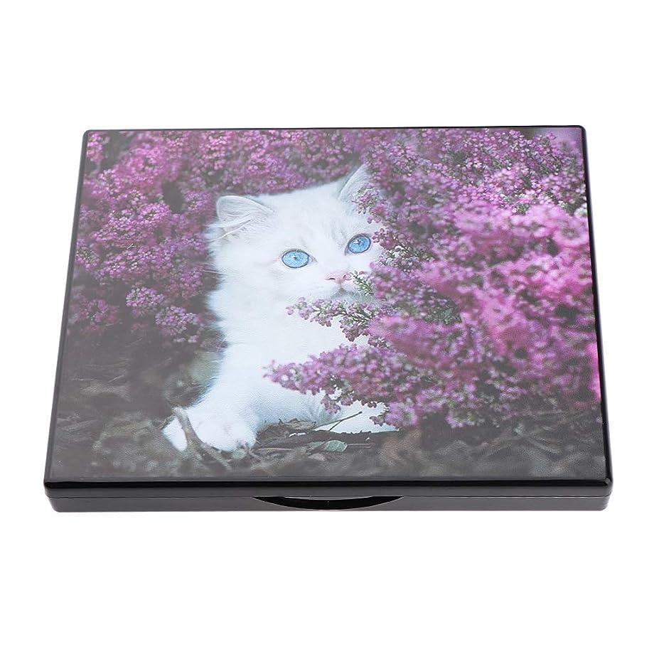 平手打ち大きさ葉を集める磁気化粧パレット ミラー付き 空ケース 手作り化粧品 コンテナ 旅行小物 4色選べ - 愛らしい白猫