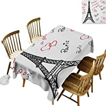 kangkaishi Easy to Care for Leakproof and Durable Long tablecloths Outdoor Picnic Eiffel Paris is Always a Good Idea Tourism Locations Love Valentines W70 x L120 Inch Red Black White