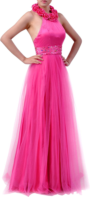 Natrual Bateau Halter Floor Length Tulle Prom Dress