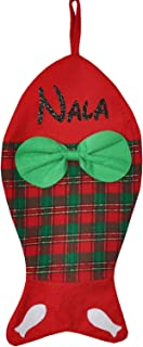 aoloshow Custom Christmas Stocking Dog Bone Pet Fish Personalized Name Gift Kids Fireplace Decor with Embroidered Plaid 1Pcs