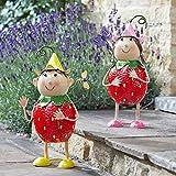 garden mile® Neuheit Gartenfiguren Erdbeere Freunde Bunte Figuren Metall Garten Ornamente Deko freistehend Figuren wasserdicht wetterfest