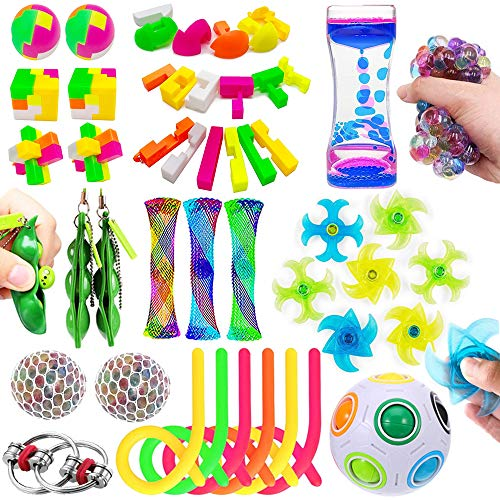23-Pack-Sensory-Fidget-Toys-Set-Liquid-Motion-TimerRainbow-Magic-BallStretchy-StringMesh-and-Marble-Stress-Relief-Therapy-Hand-Toys-Sensory-Tools-for-Children-and-Adults-Relief-Anxiety
