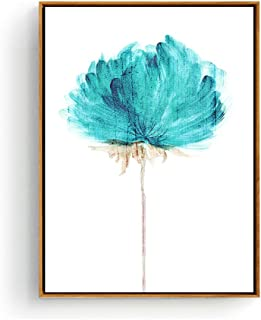 Hepix Canvas Wall Art, Abstract Blue Watercolor Flowers Canvas Print for Home Decor, 13 x 17 inch (Framed)