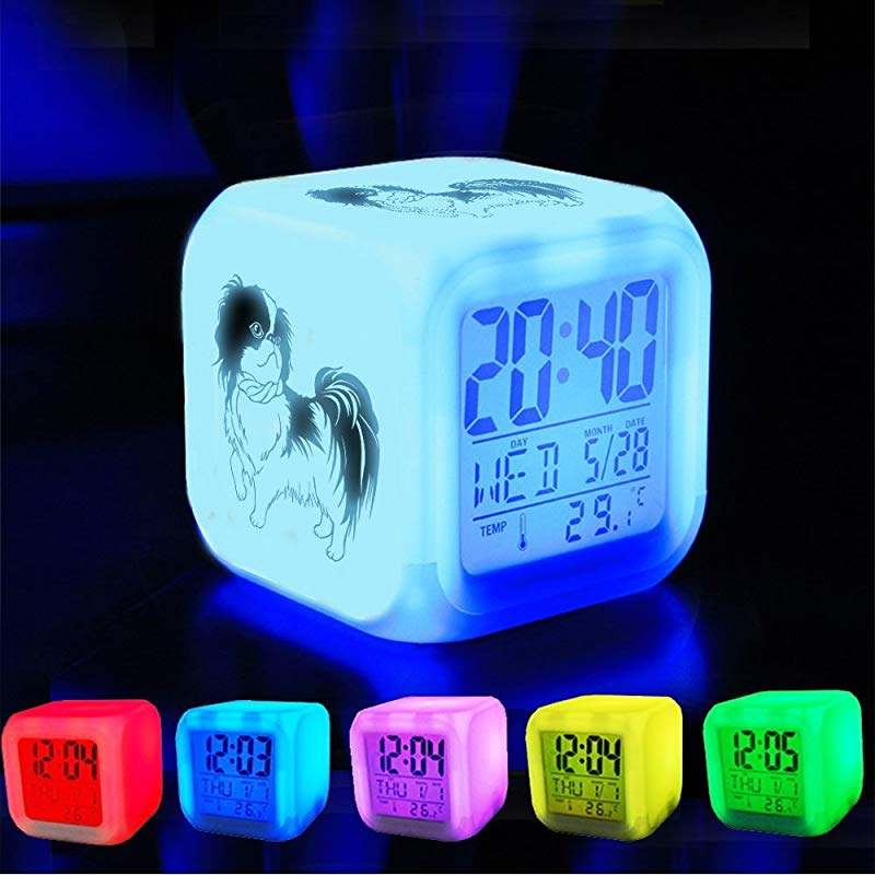 XLH Alarm Clock 7 LED Color Changing Wake Up Bedroom With Data And Temperature Display Changable Color Customize The Pattern 389 Small Breed Dogs Japanese Chin Dog Cute Japan