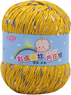 Feteso 毛糸 並太 1玉50g 編み糸 斑点 アソートカラー 手芸糸 編み物 毛糸セット カラーランダム たわし 1玉当たり 50g 約110m Knitting Velvet Crochet Coral Cashmere Yarn