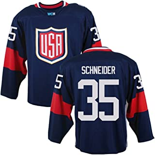 2016 World Cup Men's USA #35 Cory Schneider Navy Ice Hockey Jersey