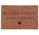 Personalisierte Kokos Fußmatte: Indoor Matte mit individuellem Namen der Familie | Geschenk für Paare zum Einzug, Einweihungsparty, Hochzeit