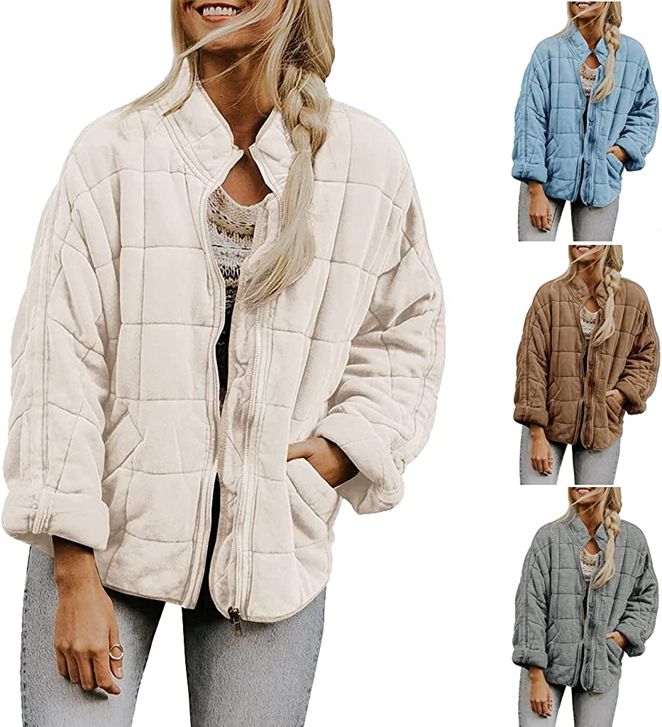 Jeauseul Womens Lightweight Quilted Jackets Zip Up Sleeve Stand Neck Warm Outwears Fully Lined Zip Warm Girl's Outwear