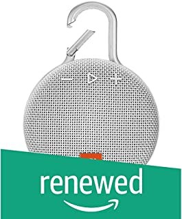 (Renewed) JBL Clip 3 Ultra-Portable Wireless Bluetooth Speaker with Mic (White)