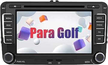 AWESAFE Radio Coche 7 Pulgadas con Pantalla Táctil 2 DIN para VW Golf, Autoradio con Bluetooth/GPS/FM/RDS/CD DVD/USB/SD, Apoyo Mandos Volante, Mirrorlink y Aparcacimiento