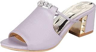 KemeKiss Women Chunky Heels Mules Sandals Peep Toe Summer Sandals