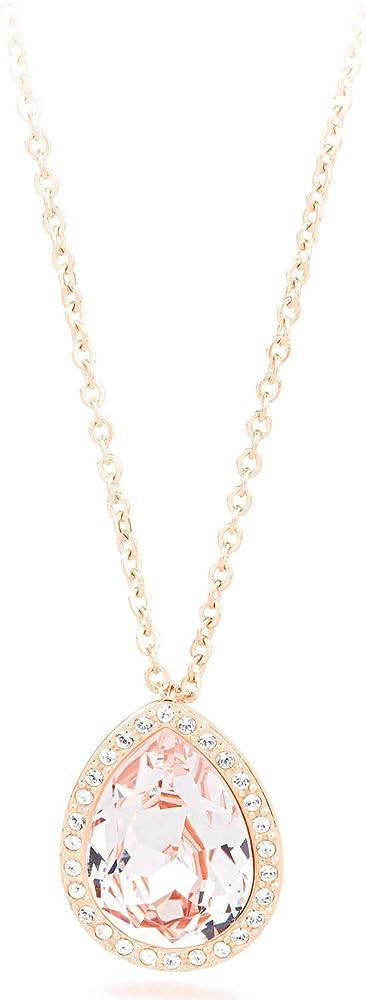 Brosway collana per donna  in acciaio con ciondolo a goccia pvd oro rosa e swarovski TEAR BROSWAY BTX03