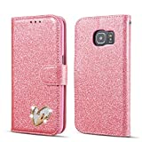 QLTYPRI Samsung Galaxy S6 Edge Wallet Case Bling Shiny Glitter Flip Folio Case Full-Body Protective Cover Card Slots Magnetic Closure Kickstand Wrist Strap for Women Girls S6 Edge Case - Pink