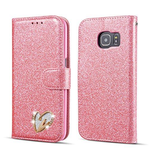 QLTYPRI Samsung Galaxy S7 Edge Hülle, Glitzer Handyhülle PU Ledertasche TPU Etui Handschlaufe Kartenfach mit Eingelegten Liebe Herz Diamond Flip Schutzhülle für Samsung Galaxy S7 Edge - Rosa