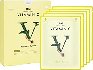 Rael Bamboo Face Sheet Mask - (Vitamin C, 5 Sheets) Vita Bright Real Natural Facial Mask With Vitamin C For Brightening by Rael