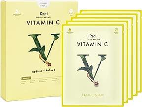 Rael Bamboo Face Sheet Mask - (Vitamin C, 5 Sheets) Vita Bright Real Natural Facial Mask With Vitamin C For Brightening by Rael