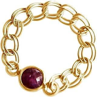 Gemshine 女士戒指镀金圆形红宝石 '-戒指尺寸 54 Acco5