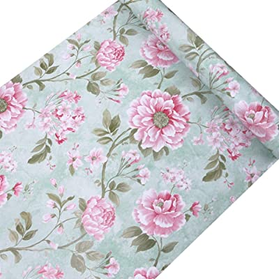 Jaamso Royals Pink Floral Design Wallpaper Removable Peel and Stick Self Adhesive Film Stick Paper for Bedrooms, Living Room, Hall, Play Room, Garden Home Decoration Stickers (200 cm *45 cm)