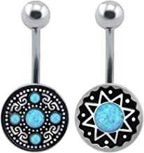 ZS 2PCS Belly Navel Ring Opal Navel Piercing Belly Button Ring Curved Barbell Cute Belly Rings Body Jewelry 14g