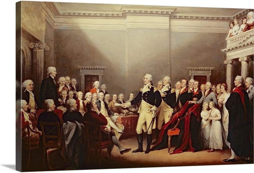 The Resignation of George Washington overseas on Wall Print Art Outlet sale feature H Canvas