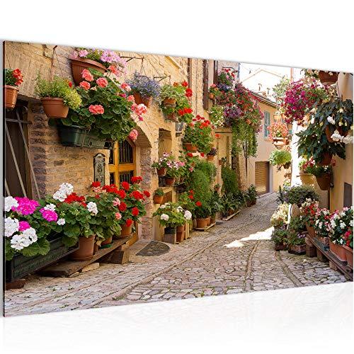 Bilder Mediterran Italien Wandbild 70 x 40 cm Vlies - Leinwand Bild XXL Format Wandbilder Wohnzimmer Wohnung Deko Kunstdrucke Braun 1 Teilig - MADE IN GERMANY - Fertig zum Aufhängen 024714a