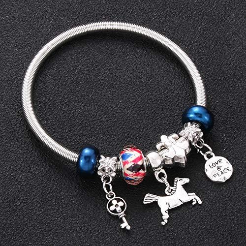 Shangwang 0031BE - Llave de cerradura en forma de 6 colores para mujer, pulsera de cristal y pulsera