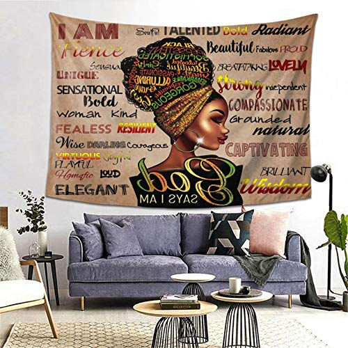 Black Art Wall Tapestry African American Women Tapestries Hippie Art Wall Black Queen Woman Inspirational Decoration Wall Hanging Tablecloth Bedroom Living Room Dorm Room Best Gift, 80x60 Inch