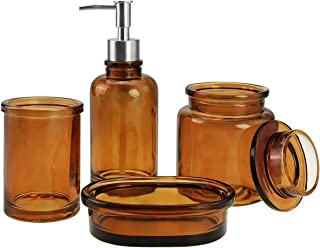 amber glass bathroom accessories
