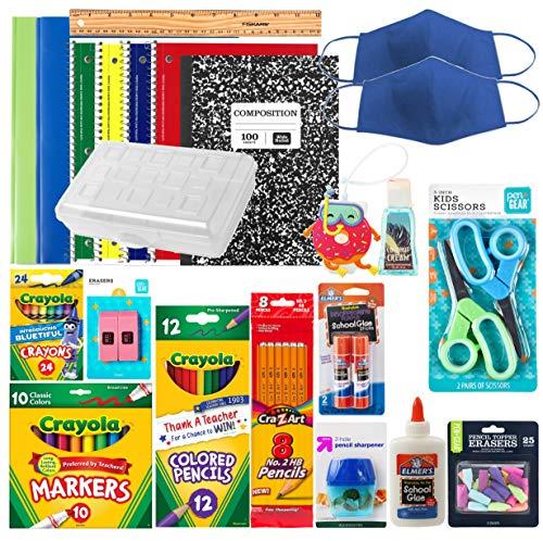 Back to School Essentials Supplies Pack Kit Bundle - Grades K-8   Wide Ruled Notebooks Composition Book Folders Markers Crayons Colored Pencil Sharpener Scissors Glue Sticks Pencil Case (Boys 2020)
