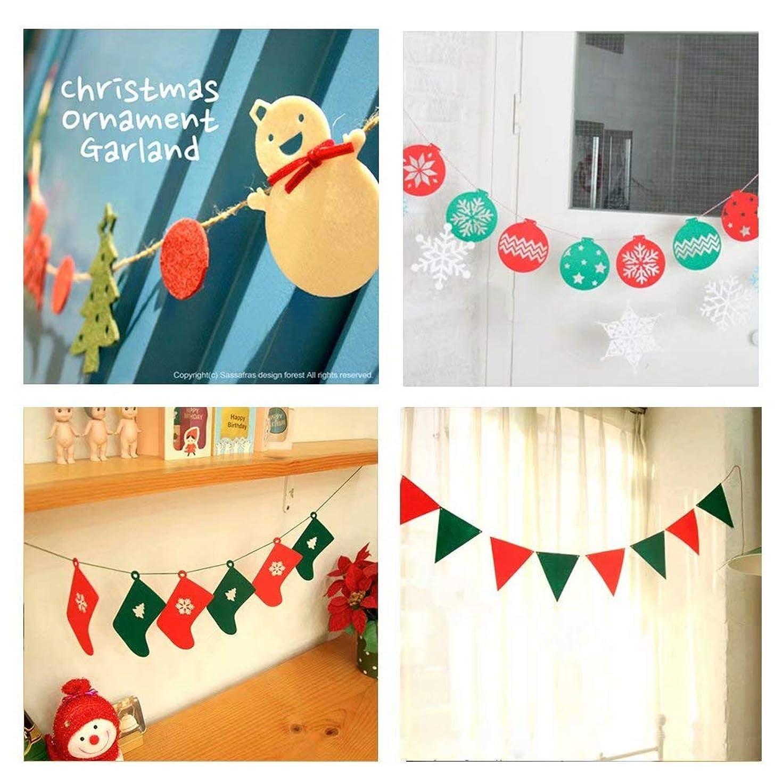 バッフルプール巨人Anyasun クリスマスガーランド飾りフェルト4点セットパーティー飾りクリスマスサンタクロースガーランド壁飾りクリスマスツリーボール雪だるまクリスマス靴下三角旗無料の1枚クリスマスカード付き