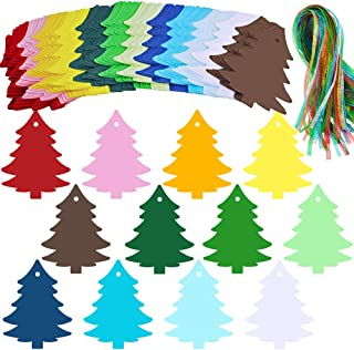 120 Pcs 12 Colors Christmas Tree Gift Tags Sign with Organza Ribbons Holiday Season Party Favors Tags Escort Cards Wishing Tree Tags Name Place Cards Hanging Sign Tags Tree Paper Cutouts with Holes