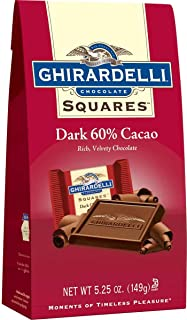 Ghirardelli Dark 60% Cacao Squares Stand Up Bag, 5.25 Ounce