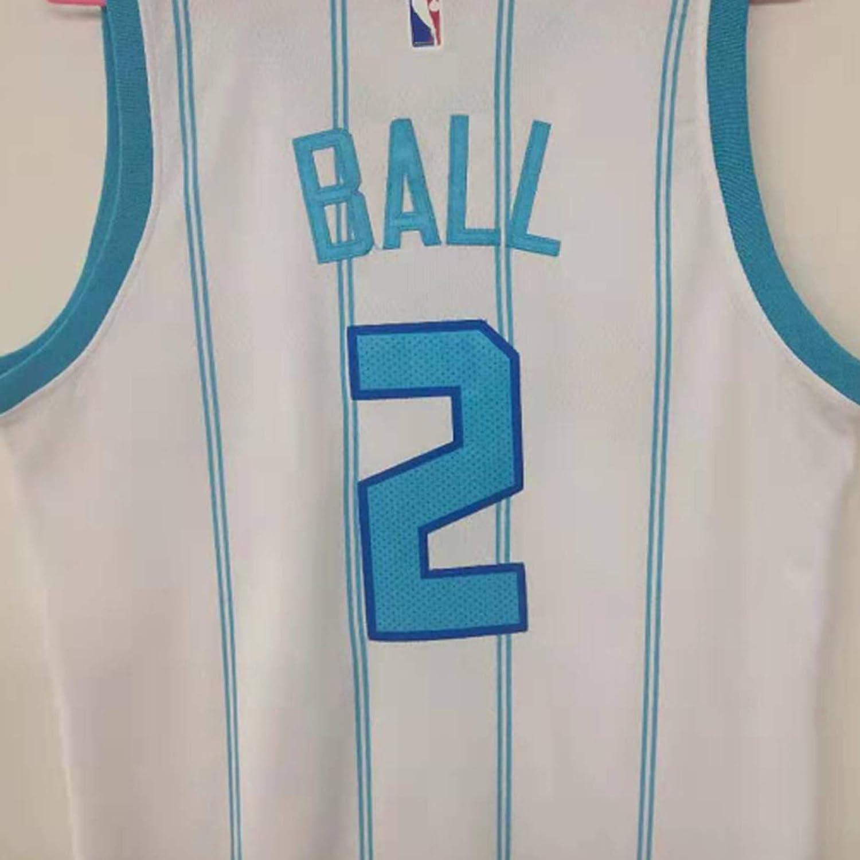 ZLWJ Lamelo Ball Trikot Charlotte Hornets Basketball Uniform # 2 Herren Polyester Bestickt Mesh Top 90S Kleidung Basketball Swingman Jersey Sportswear /Ärmellos White-S